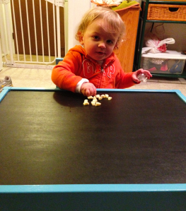 FIrst snack at his new table!
