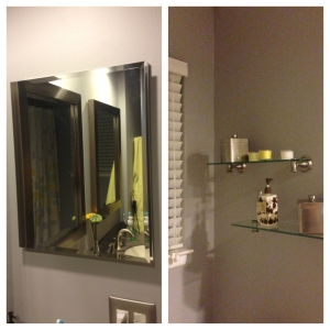 New medicine cabinet, blinds & glass shelves